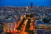 Avenue Marceau & Rooftops of Paris, Blue Hour