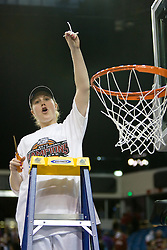 March 29, 2010; Sacramento, CA, USA; Stanford Cardinal guard JJ Hones cuts down the nets after the game against the Xavier Musketeers in the finals of the Sacramental regional in the 2010 NCAA womens basketball tournament at ARCO Arena. Stanford defeated Xavier 55-53.