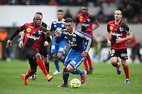 Jordan FERRI / Baissama SANKOH - 04.04.2015 - Guingamp / Lyon - 31eme journee de Ligue 1<br />Photo : Vincent Michel / Icon Sport