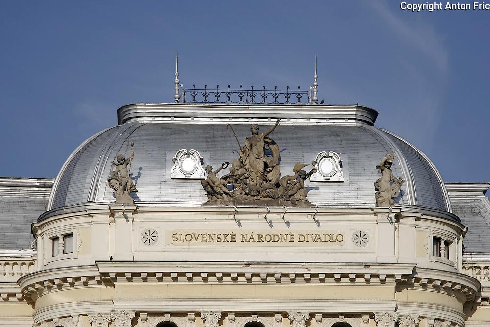 The roof of Slovak National Theatre Opera house in Bratislava, Slovakia.