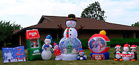 Let it Snow -- July and 98°F in New Jersey. Wishful Thinking Inflatable Display in Front of the Carrier Clinic in Belle Mead, NJ. Image taken with a Leica X1 camera (ISO 100, 24 mm, f/5.6, 1/400 sec). Out of the camera jpg image.