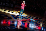 Singing the national anthem during Battle In Seattle. Photo by Austin Ilg