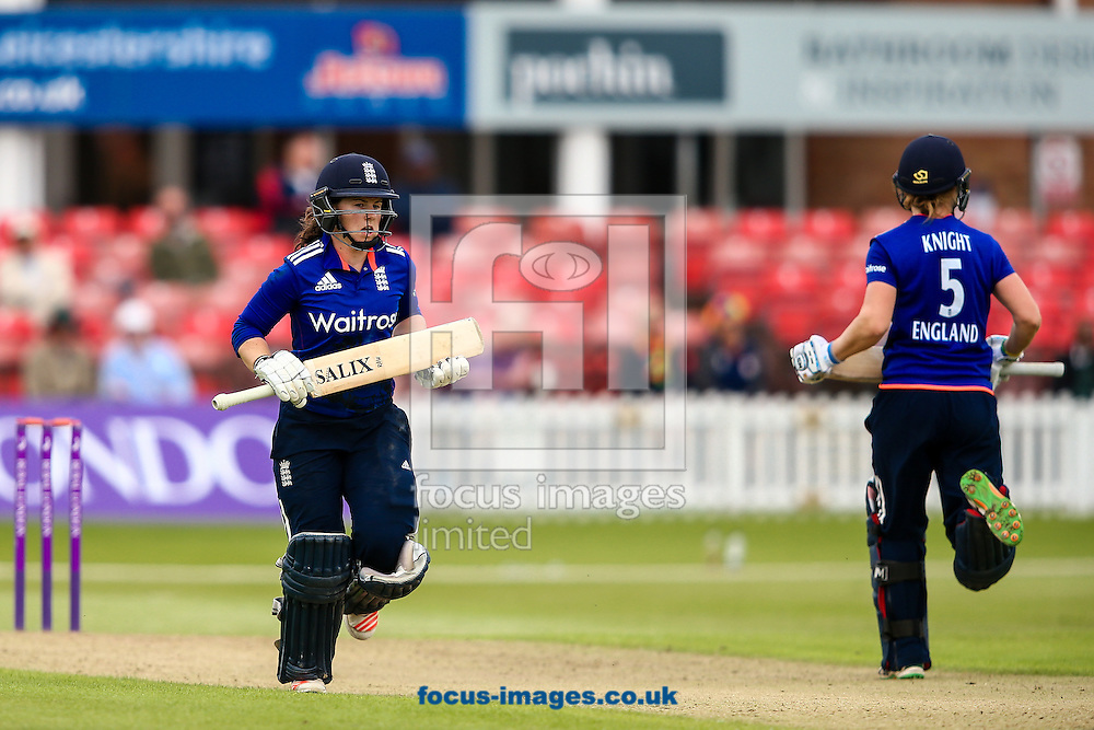 Tammy Beaumont of England (left)  and Heather Knight of England (right) take a run during the Royal London One Day Series match at Fischer County Ground, Leicester<br /> Picture by Andy Kearns/Focus Images Ltd 0781 864 4264<br /> 21/06/2016