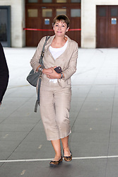 © Licensed to London News Pictures. 18/09/2016. London, UK. Co-Leader of the Green Party Caroline Lucas MP leaves BBC Broadcasting House after appearing on the Andrew Marr show this morning. Photo credit : Tom Nicholson/LNP