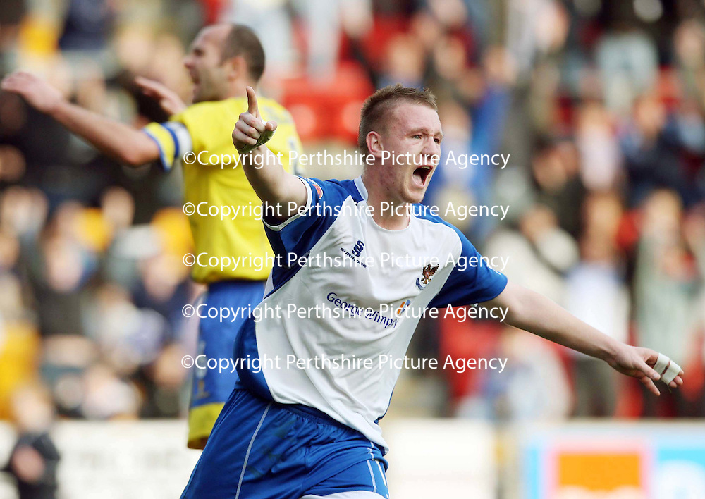St Johnstone v Queen of the South....20.10.07<br /> Andy Jackson celebrates his goal<br /> Picture by Graeme Hart.<br /> Copyright Perthshire Picture Agency<br /> Tel: 01738 623350  Mobile: 07990 594431
