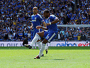 Didier Drogba Scores 1st goal past Portsmouth David James.Chelsea 2009/10.Chelsea FA Cup Winners 2010.Chelsea V Portsmouth (1-0) 15/05/10 .The FA Cup Final Wembley Stadium.