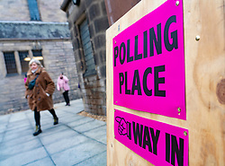 Sign outside polling place in Edinburgh, Scotland during General Election polling day on 12 Dec 2019, UK