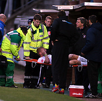 Photo: Mark Stephenson/Sportsbeat Images.<br /> Hereford United v Hartlepool United. The FA Cup. 01/12/2007.Hereford's Robbie Threlfall is strecherd off the pitch