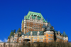 Canada, Quebec City, Chateau Frontenac Hotel  .Photo: canada105..Photo copyright: Lee Foster, 510-549-2202, lee@fostertravel.com, www.fostertravel.com