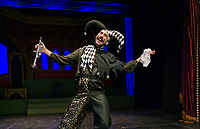 """Chris Hendricks as """"Lester the Jester"""" belts out a song in Louis Armstrong style during dress rehearsal for the upcoming traditional english panto """"Snow White"""" at the Winnipesaukee Playhouse Tuesday afternoon.  (Karen Bobotas/for the Laconia Daily Sun)"""