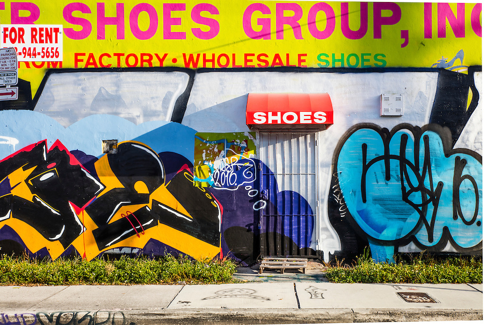 A shoe warehouse decorated with graffiti in Miami's Wynwood arts district
