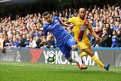 Pedro of Chelsea under pressure from Andros Townsend of Crystal Palace - Mandatory by-line: Jason Brown/JMP - 01/04/2017 - FOOTBALL - Stamford Bridge - London, England - Chelsea v Crystal Palace - Premier League