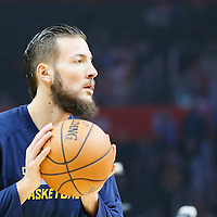 24 February 2016: Denver Nuggets center Joffrey Lauvergne (77) warms up prior to the Denver Nuggets 87-81 victory over the Los Angeles Clippers, at the Staples Center, Los Angeles, California, USA.