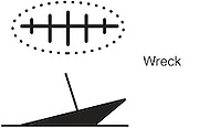 A vector illustration of a shipwreck symbol used on navigational charts.