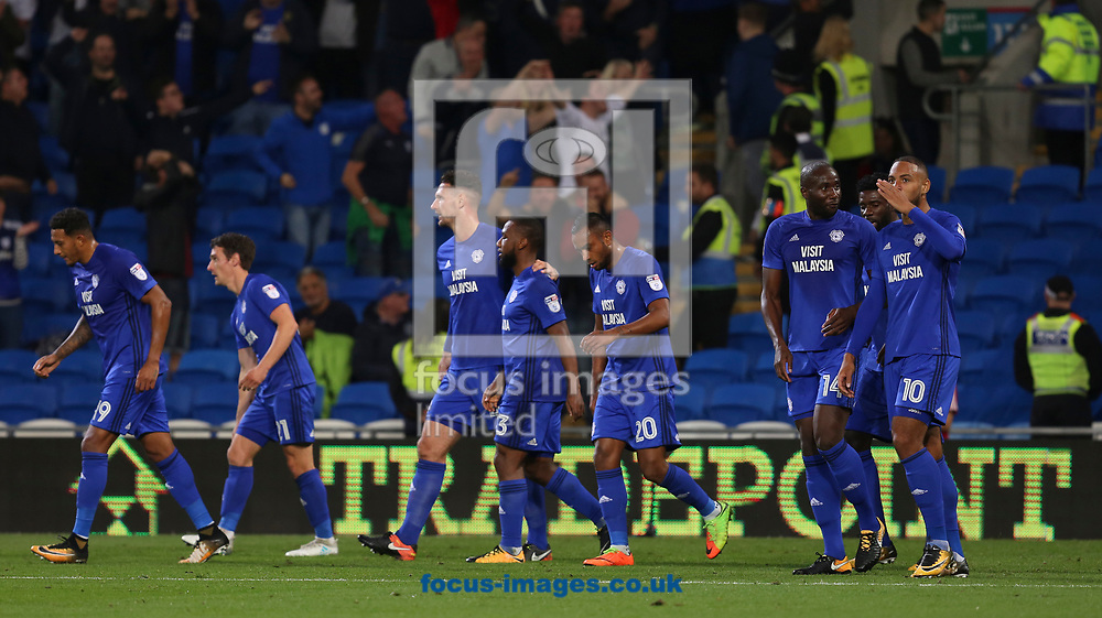 Kenneth Zohore (R) celebrates the first goal for Cardiff City against Leeds United during the Sky Bet Championship match at the Cardiff City Stadium, Cardiff<br /> Picture by Mike Griffiths/Focus Images Ltd +44 7766 223933<br /> 26/09/2017