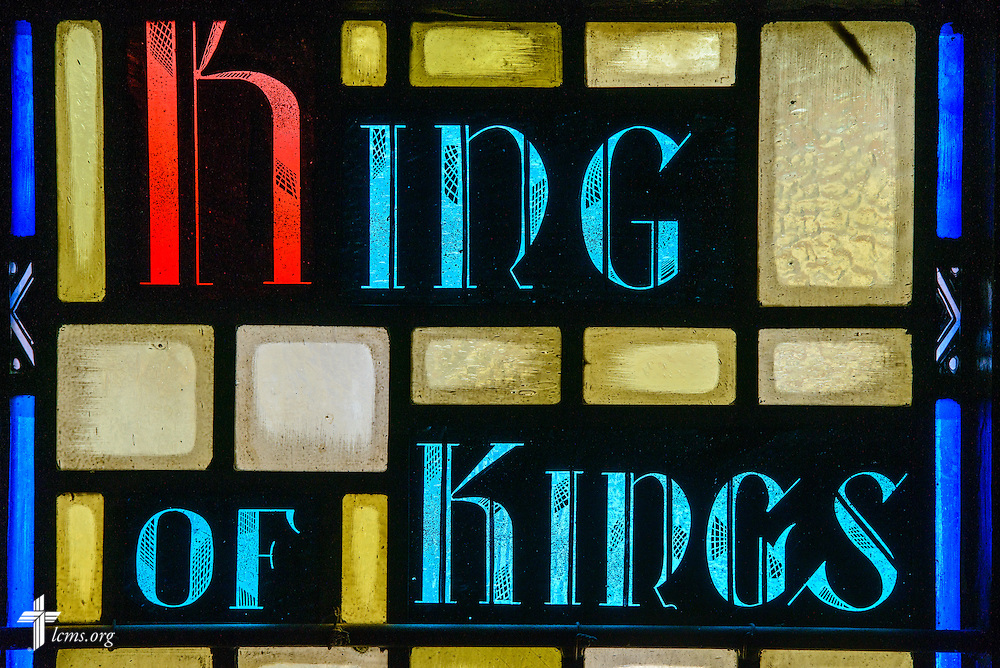 """Stained glass at Luther Memorial Chapel depicts """"king of kings"""" on Friday, Jan. 29, 2016, in Shorewood, Wis. LCMS Communications/Erik M. Lunsford"""