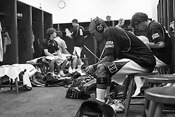 26 May 2007: Duke Blue Devils goalkeeper Devon Sherwood (1) listens to his music in the locker room before the NCAA semifinals to take on the Cornell Big Red at M&T Bank Stadium in Baltimore, MD.