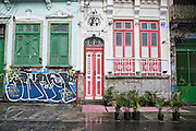 Old Portuguese style colonial building with graffiti in the Lapa neighborhood of Rio de Janeiro, Brazil.