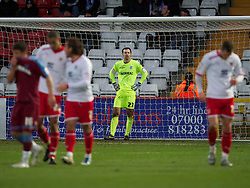 STEVENAGE, ENGLAND - Saturday, December 17, 2011: Tranmere Rovers' goalkeeper Paul Rachubka looks dejected as Stevenage score the opening goal during the Football League One match at Broadhall Way. (Pic by David Rawcliffe/Propaganda)