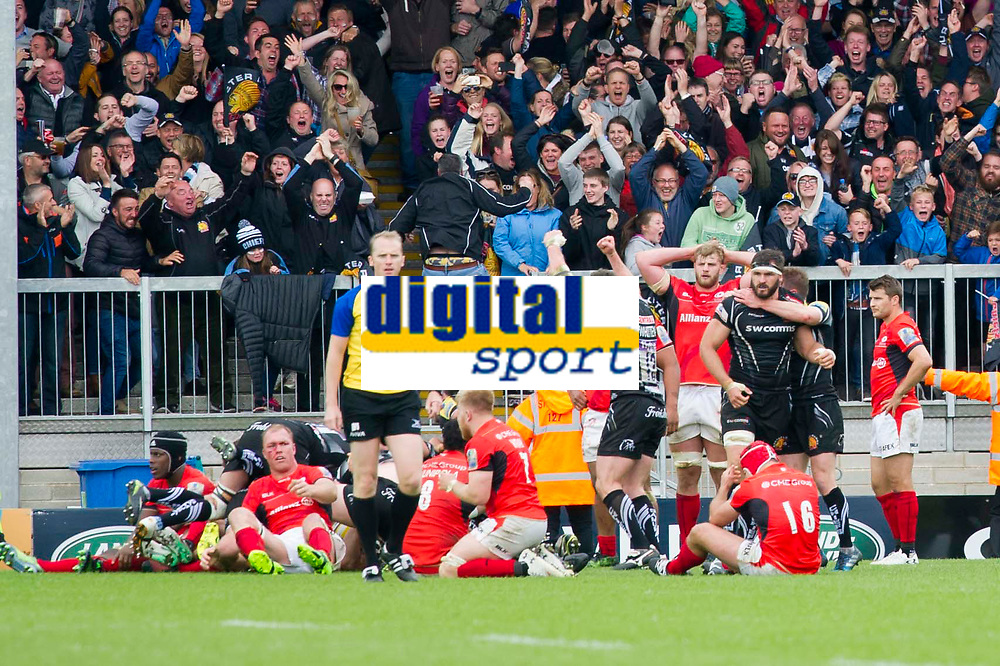 Rugby Union - 2016 / 2017 Aviva Premiership - Semi-Final: Exeter Chiefs vs. Saracens<br /> <br /> Exeter & their fans celebrate as they score a try in the final minute to win the game , at Sandy Park.<br /> <br /> COLORSPORT/WINSTON BYNORTH