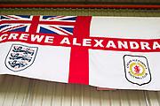 Crew Alexandra FC banner. EFL Sky Bet League 2 match between Crewe Alexandra and Exeter City at Alexandra Stadium, Crewe, England on 5 October 2019.