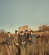 The Scottish band Mogwai photographed at the Sighthill Stone Circle in Glasgow,Scotland November 16th 2013<br /> Band members Stuart Braithwaite, Dominic Aitchison, Martin Bulloch,John Cummings