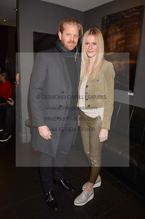 Alistair Guy and Barbora Bediova at an exhibition of photographs by Erica Bergsmeds held at The Den, 100 Wardour Street, London England. 19 January 2017.