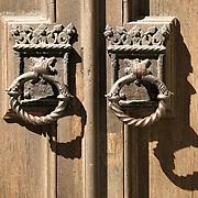 Door pulls on doors of Leslie Lindsey Memmorial Chapel at Emmanuel Church on Newberry Street Boston MA