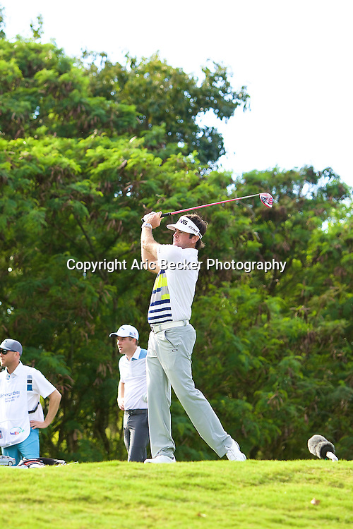 January 09 2015:  Bubba Watson tees off on number fifteen during the First Round of the Hyundai Tournament of Champions at Kapalua Plantation Course on Maui, HI.