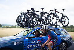 Sara Mustonen (SWE) of Veloconcept Cycling Team gets a bottle from DS Carmen Small on Stage 1 of the Ladies Tour of Norway - a 101.5 km road race, between Halden and Mysen on August 18, 2017, in Ostfold, Norway. (Photo by Balint Hamvas/Velofocus.com)