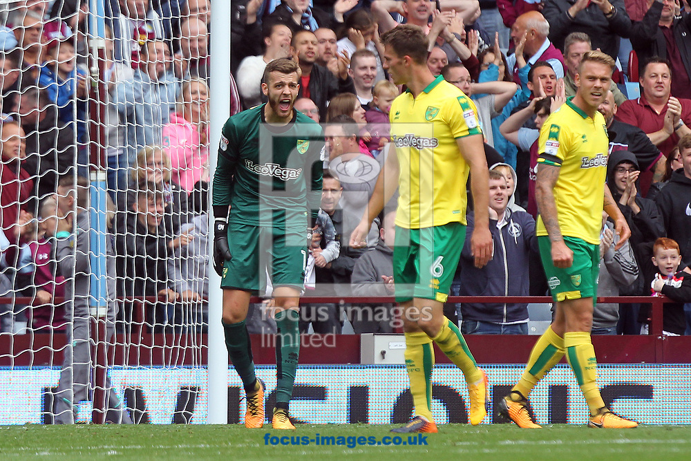 Angus Gunn of Norwich shouts at his defence after his side concedes it&rsquo;s 1st goal during the Sky Bet Championship match at Villa Park, Birmingham<br /> Picture by Paul Chesterton/Focus Images Ltd +44 7904 640267<br /> 19/08/2017