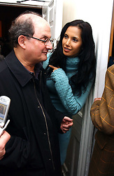 Writer SALMAN RUSHDIE and his wife PADMA LAKSHMI  at a private view of an exhibition of photographs by the late Robert Mapplethorpe curated by artist David Hockney at the Alison Jacques Gallery, 4 Clifford Street, London W1 on 13th January 2005.<br /><br />NON EXCLUSIVE - WORLD RIGHTS