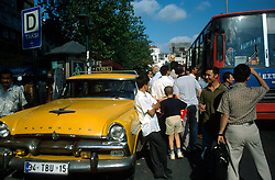 TURKEY ISTANBUL JUL02 - Street scene outside the Kapali Carsi, the largest covered bazaar in the world. City busses or taxis are the predominant modes of transport in Istanbul..jre/Photo by Jiri Rezac..© Jiri Rezac 2002..Contact: +44 (0) 7050 110 417.Mobile:   +44 (0) 7801 337 683.Office:    +44 (0) 20 8968 9635..Email:     jiri@jirirezac.com.Web:     www.jirirezac.com