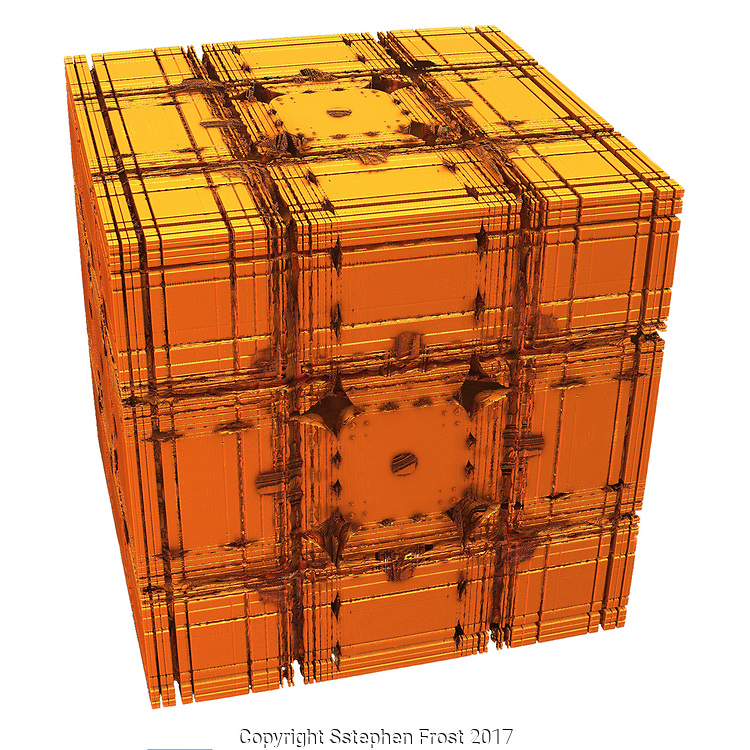 Golden box isolated on white. A digitally produced fractal image.