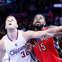 27 December 2014: Los Angeles Clippers forward Blake Griffin (32) vies for the rebound with Toronto Raptors forward Amir Johnson (15) during the Toronto Raptors 110-98 victory over the Los Angeles Clippers, at the Staples Center, Los Angeles, California, USA.