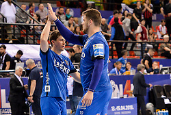 David Razgor and Matic Suholeznik of Celje PL celebrate after winning during handball match between Meshkov Brest and RK Celje Pivovarna Lasko in bronze medal match of SEHA- Gazprom League Final 4, on April 15, 2018 in Skopje, Macedonia. Photo by  Sportida