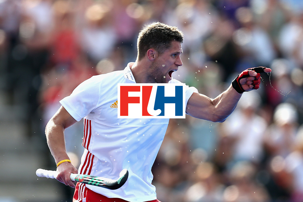 LONDON, ENGLAND - JUNE 17: Mark Gleghorne of England celebrates scoring the fifth goal for England during the Hero Hockey World League Semi Final match between England and Malaysia at Lee Valley Hockey and Tennis Centre on June 17, 2017 in London, England.  (Photo by Alex Morton/Getty Images)