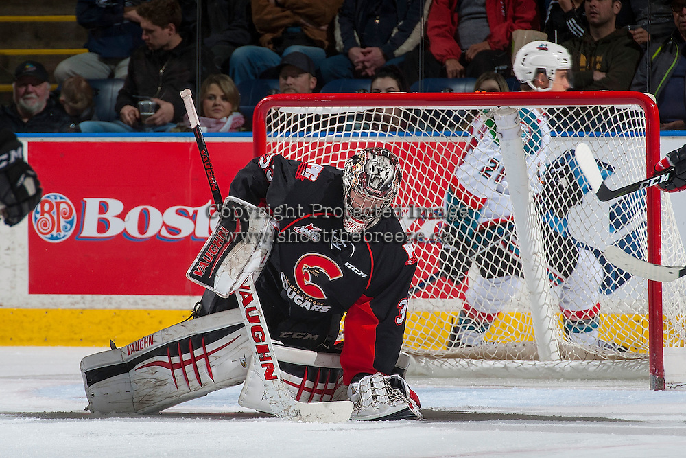 KELOWNA, CANADA - MARCH 1: Ty Edmonds #35 of the Prince George Cougars makes a save against the Kelowna Rockets on MARCH 1, 2017 at Prospera Place in Kelowna, British Columbia, Canada.  (Photo by Marissa Baecker/Shoot the Breeze)  *** Local Caption ***
