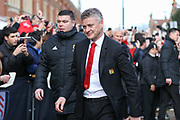 Manchester United interim Manager Ole Gunnar Solskjaer arrives offf coach during the Premier League match between Fulham and Manchester United at Craven Cottage, London, England on 9 February 2019.