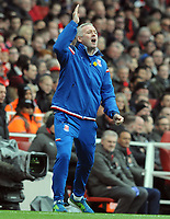 Football - 2017 / 2018 Premier League - Arsenal vs. Stoke City<br /> <br /> Stoke Manager, Paul Lambert, encourages his team at The Emirates.<br /> <br /> COLORSPORT/ANDREW COWIE
