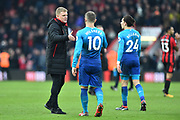 AFC Bournemouth manager Eddie Howe shakes hands with Jack Wilshere (10) of Arsenal at full time after a 2-1 win over Arsenal during the Premier League match between Bournemouth and Arsenal at the Vitality Stadium, Bournemouth, England on 14 January 2018. Photo by Graham Hunt.