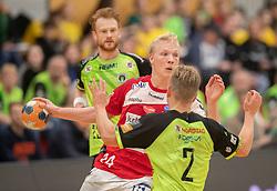 Magnus Saugstrup (Aalborg Håndbold) under kampen i Herrehåndbold Ligaen mellem Nordsjælland Håndbold og Aalborg Håndbold den 27. november 2019 i Helsinge Hallen (Foto: Claus Birch).