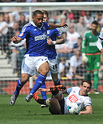 IPSWICH LIAM FEENEY BATTLES WITH RICHARD KEOGH  DERBY COUNTY, Derby County v Ipswich Town Championship, IPro Stadium, Saturday 7th May 2016. Photo:Mike Capps