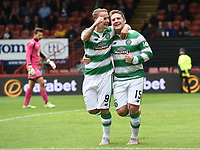 09/08/15 LADBROKES PREMIERSHIP<br /> PARTICK THISTLE v CELTIC<br /> FIRHILL - GLASGOW<br /> Celtic's Kris Commons (right) celebrates after putting his side 2-0 up