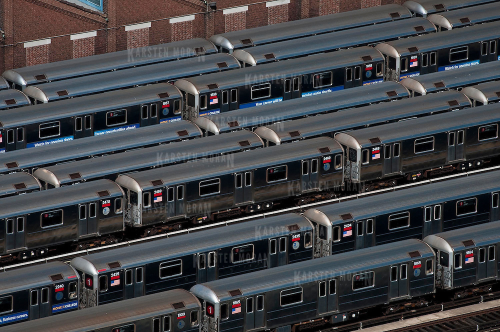 April 23, 2010 - Bronx, NY : The MTA subway train yard from above on April 23.