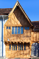 Jettied gable to the 15th century Little Hall, Lavenham, Suffolk, UK
