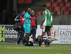 Siyabonga Zulu of Platinum Stars lays injured on the ground during the 2016 Premier Soccer League match between Chippa United and Platinum Stars held at the Nelson Mandela Bay Stadium in Port Elizabeth, South Africa on the 28th October 2016<br />