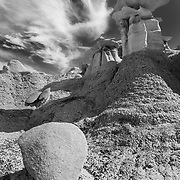 Standing Above The Fallen - Bisti Badlands - New Mexico - Black & White