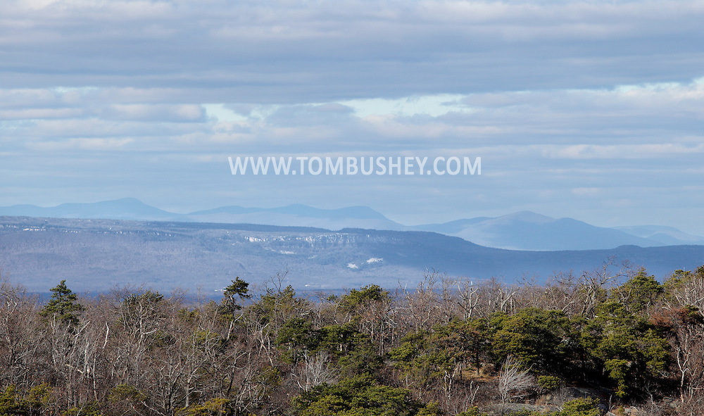 Mountainville, New York - A view of the the top of Schunnemunk Mountain's western ridge, the Shawangunks and the Catskills seen from the eastern ridge on  Nov. 28, 2010.