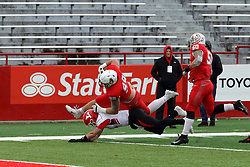 NORMAL, IL - November 17: John Ridgeway's run towards the endzone after picking up a fumbled ball is stopped just a few yards short of the end zone during a college football game between the ISU (Illinois State University) Redbirds and the Youngstown State Penguins on November 17 2018 at Hancock Stadium in Normal, IL. (Photo by Alan Look)